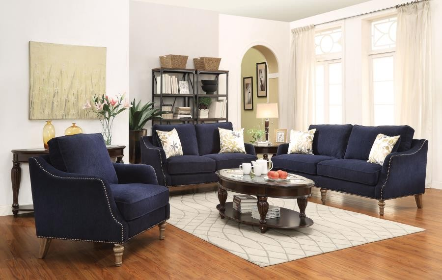 traditional blue two piece living room set