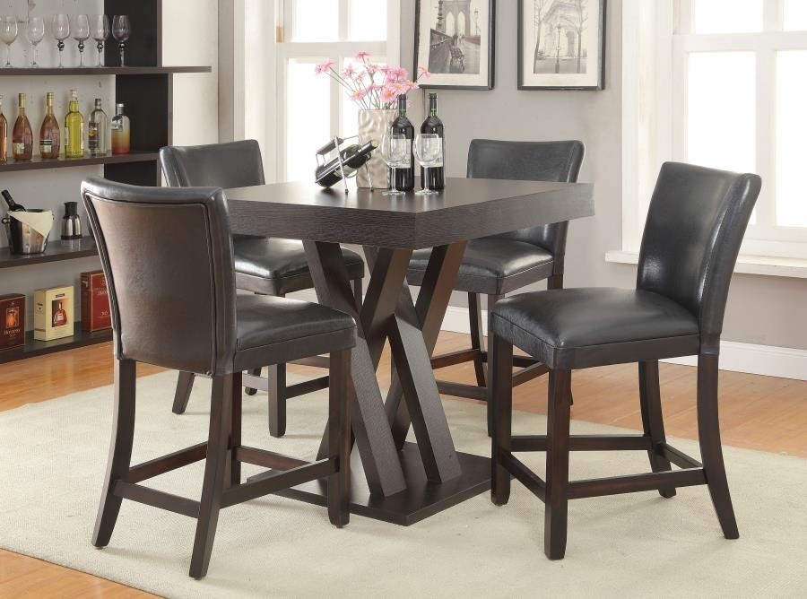 Transitional Counter Height Table And Stool Set 100523 S5 Bar Table Sets Midtown Outlet Home Furnishings