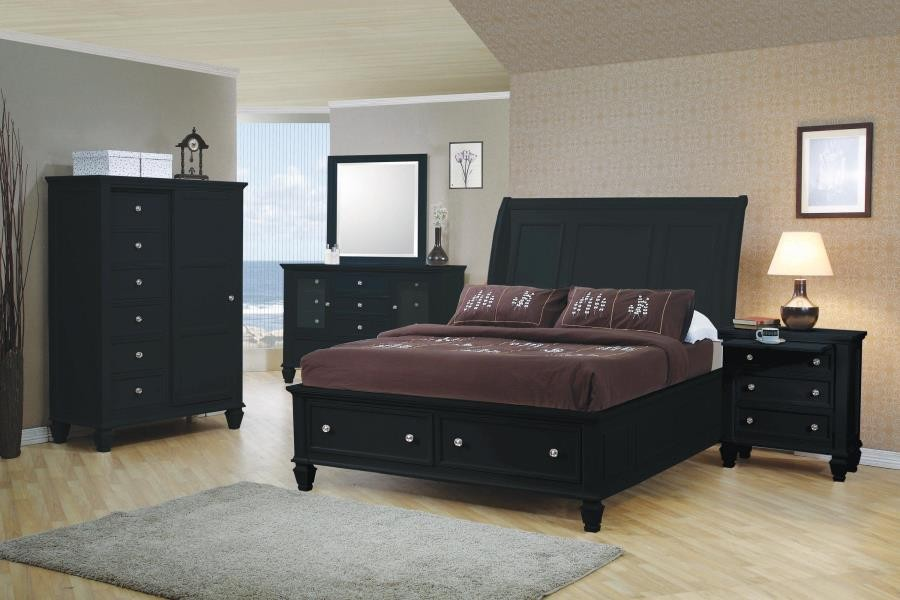 sandy beach black california king four piece bedroom set
