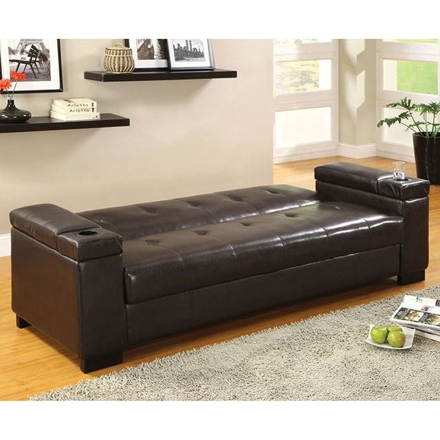 logan leatherette futon sofa w storage