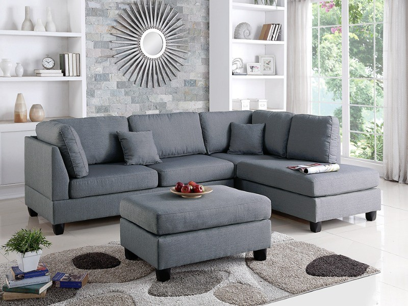 grey textured linen sectional sofa