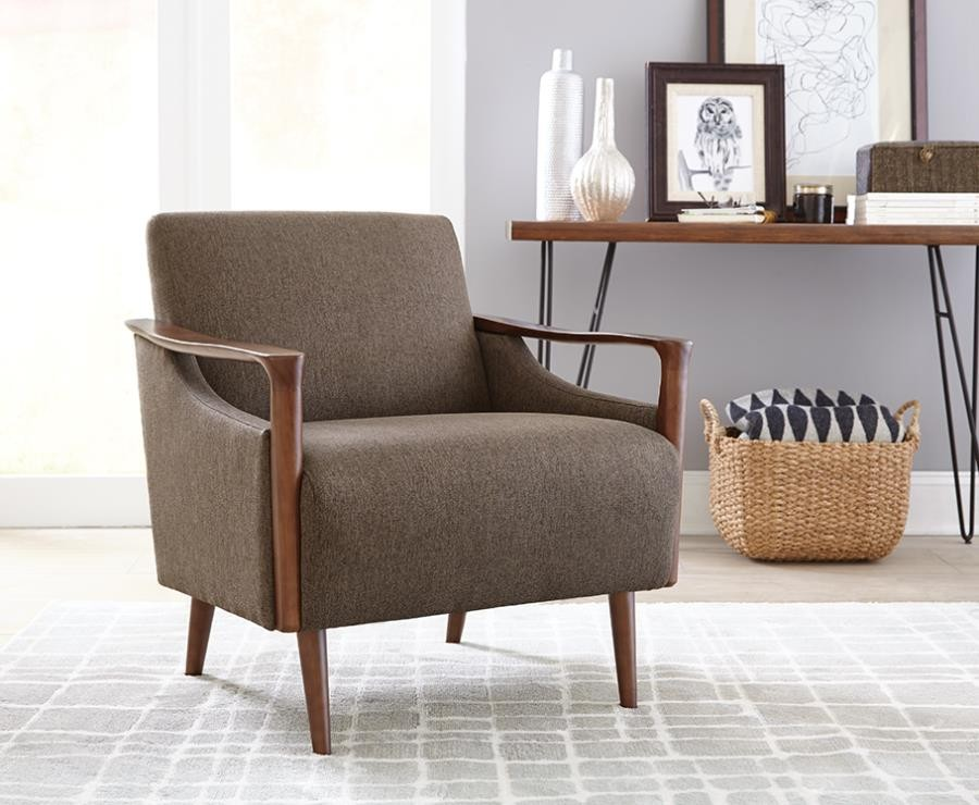 mid century accent chair rent chairs and tables scott living modern brown 904045
