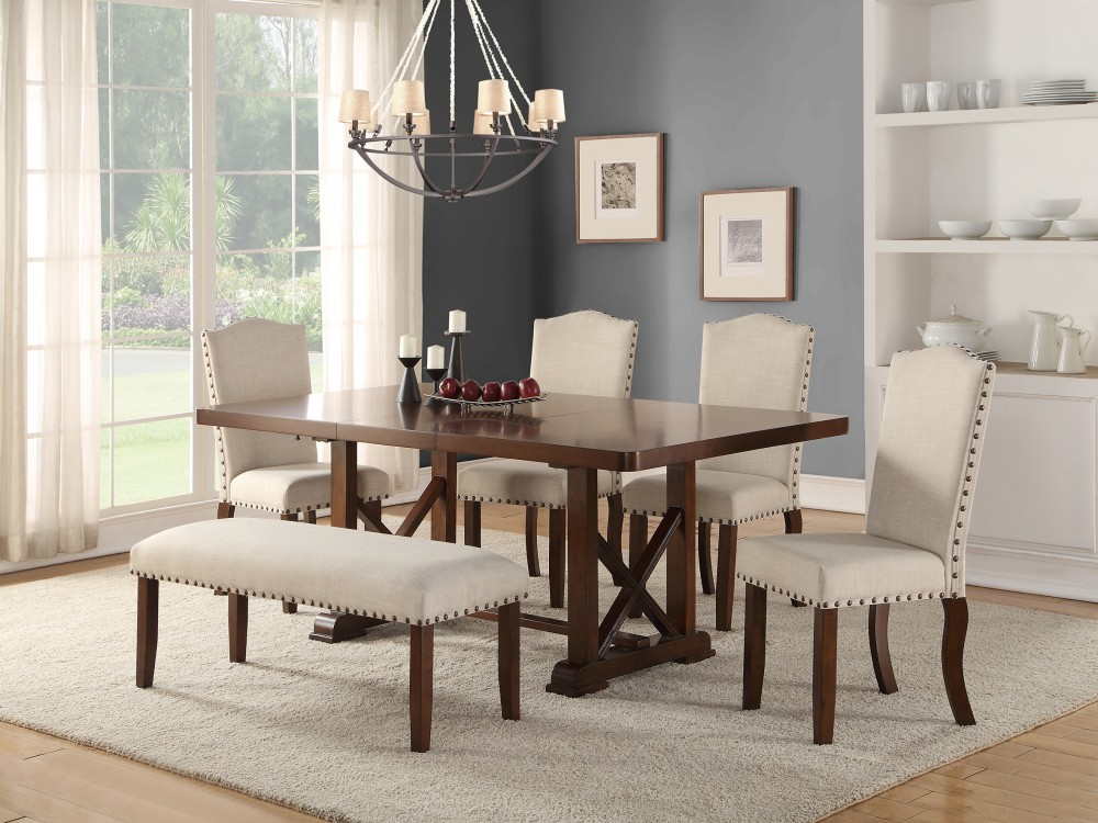 6 piece living room set benchmark furniture brown cherry wood dining with cream chairs f2398