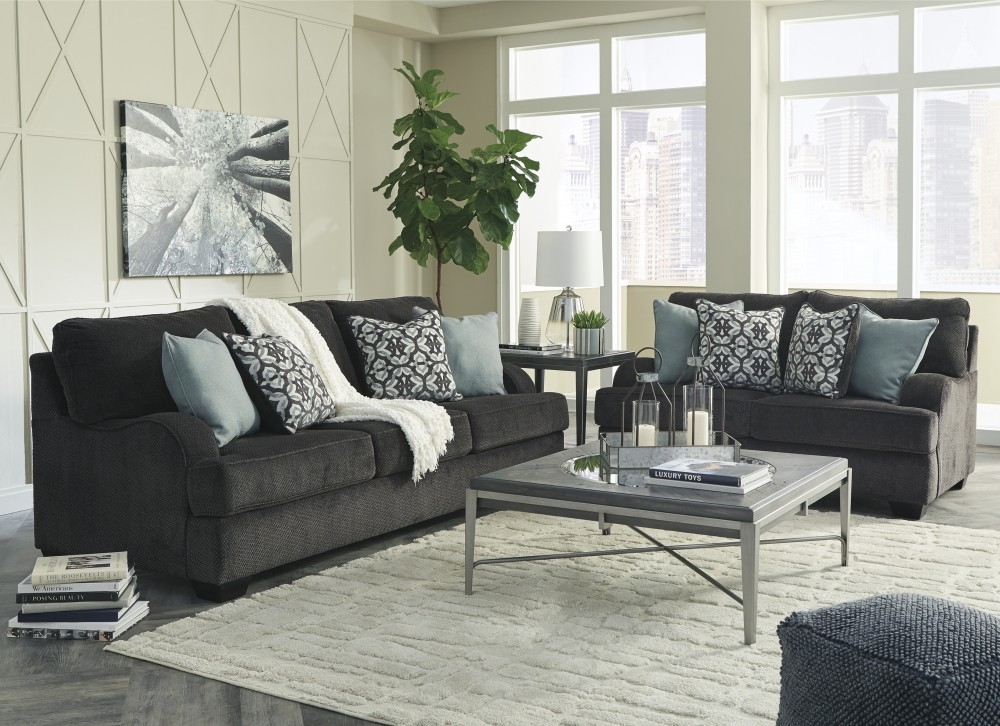 Chaon Charcoal Sofa Loveseat