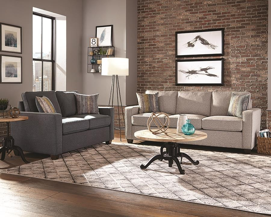 Brownswood Light Grey Three Piece Living Room Set 506531 S3 Living Room Sets Price Busters Furniture