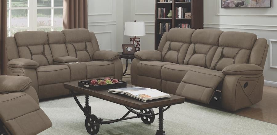living room sets houston modern divider casual tan reclining two piece set 602264 s2