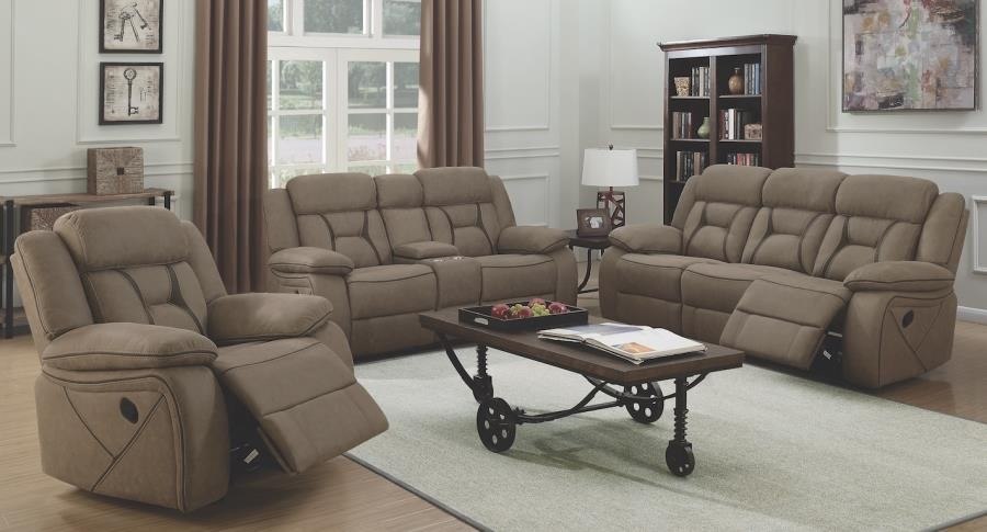 higgins motion collection houston casual tan reclining three piece living room set
