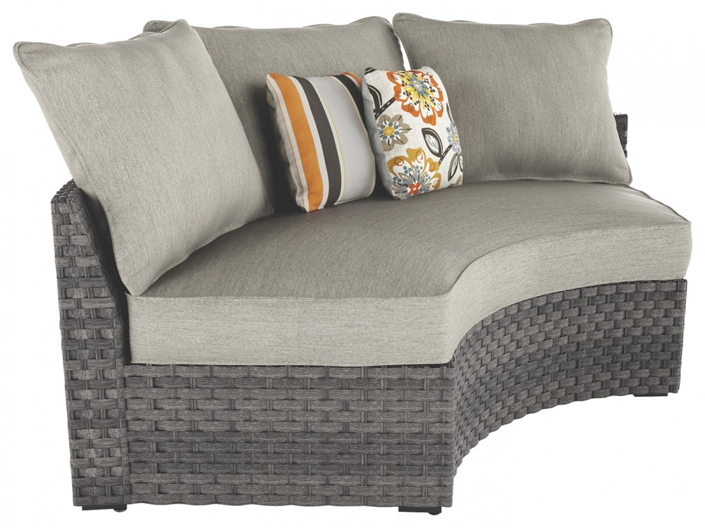 Spring Dew Gray Curved Corner Chair WCushion P453 851 Outdoor Seating Price Busters
