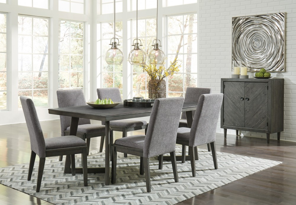 chairs for dining room set pattern chair slipcover besteneer rectangular table 6 uph side d568 25 01 groups price busters furniture