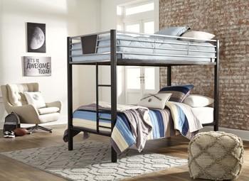 Dinsmore BlackGray TwinTwin Bunk Bed WLadder B106