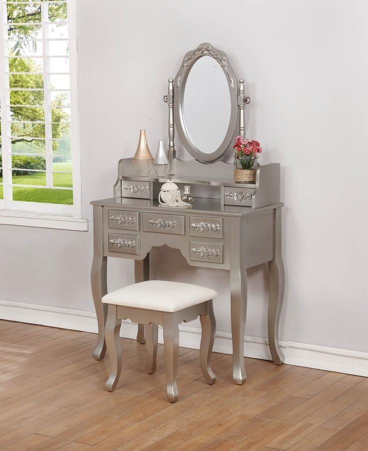Contemporary Metallic Silver Vanity Set  930137  Bedroom