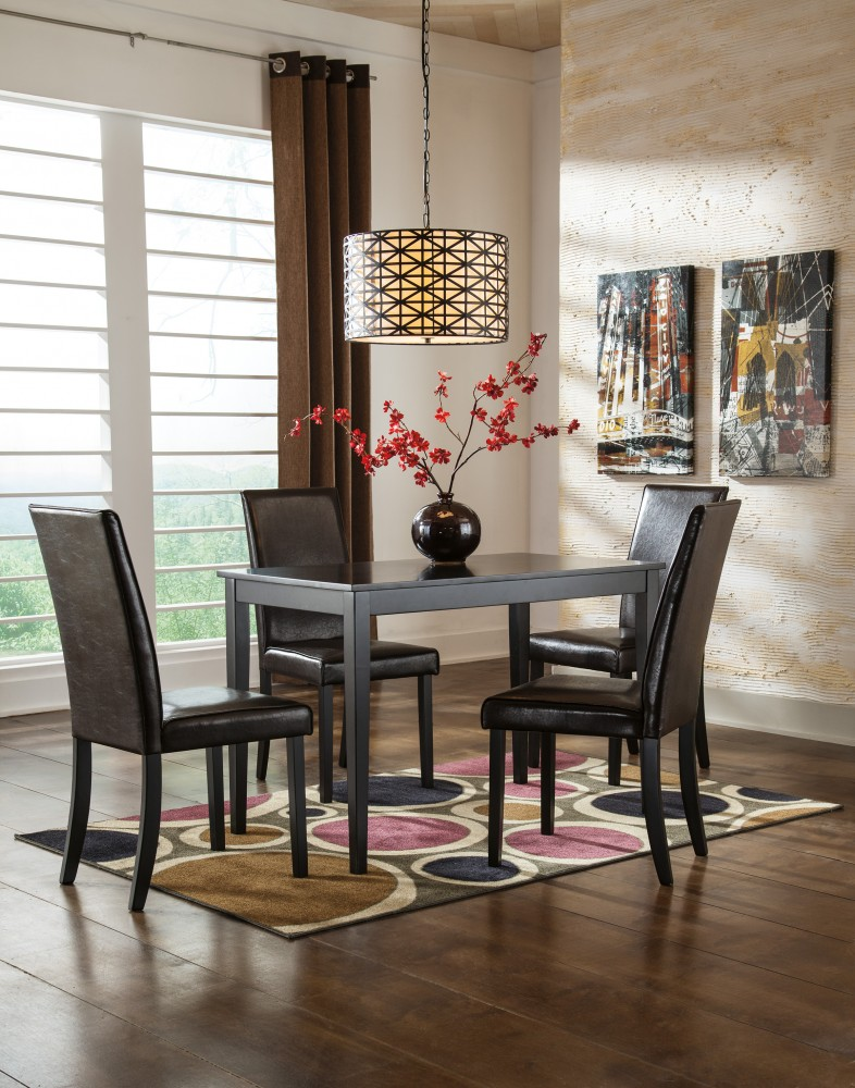 black dining room chair design presentation kimonte rectangular table 4 uph side chairs d250 02 25