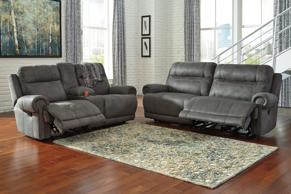 living room reclining sofas paint color ideas with brown furniture austere gray 2 seat sofa dbl rec loveseat w console