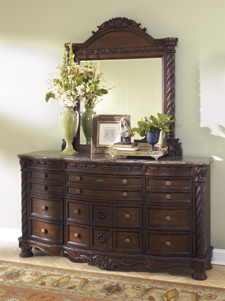 living room dressers area rug size north shore dresser mirror b553 131 36 bedroom with mirrors price busters furniture