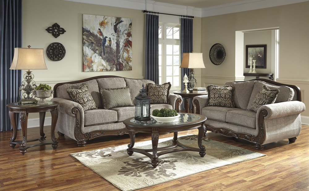 living room with loveseat and chairs white walls brown furniture cecilyn cocoa sofa 57603 38 35 groups