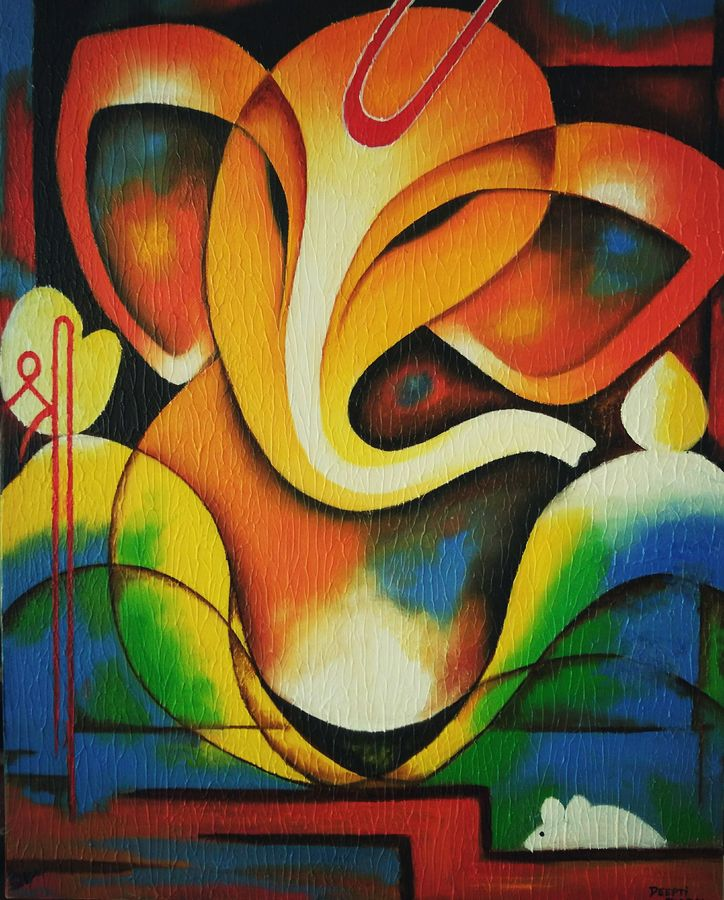 Buy Textured Abstract Ganesha Painting At Lowest Price By Deepti Dabral