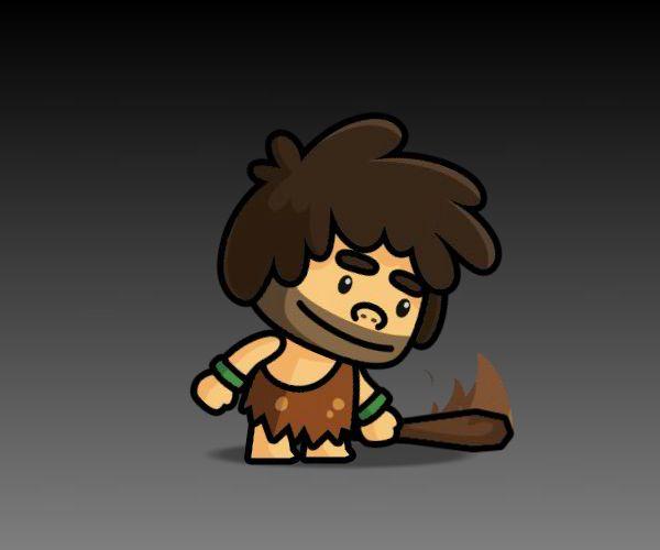 tiny caveman game art