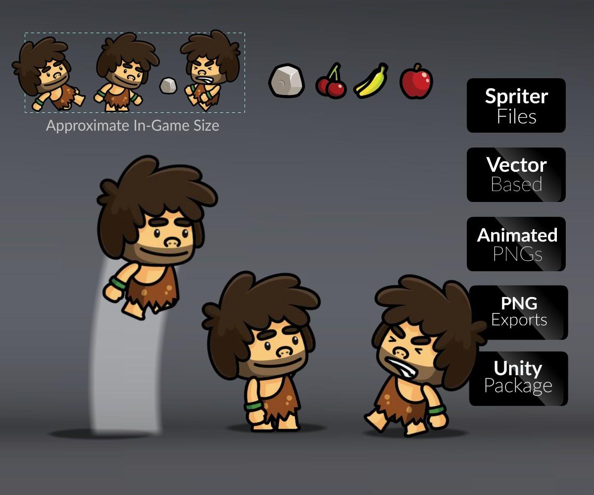 tiny caveman character sprite
