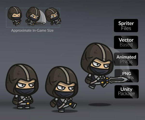 Assassin Guy 2d Character Sprite Tokegameart - Year of Clean