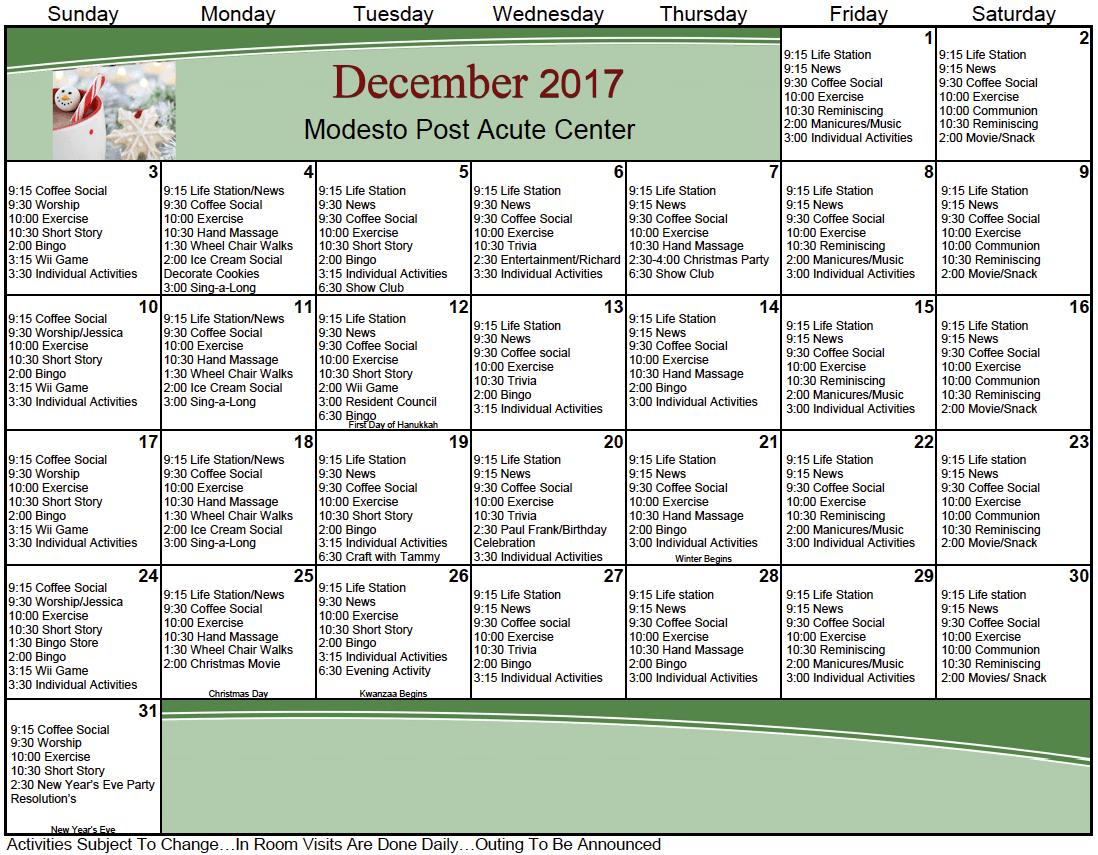 General Resident Activity Calendar