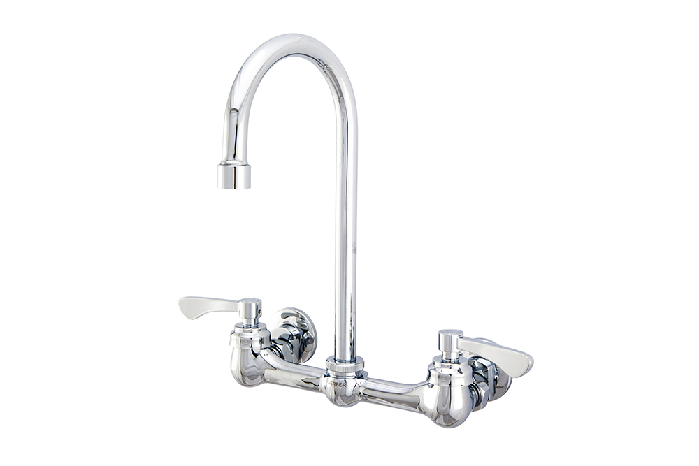 Commercial Two Handle Wall Mount Kitchen Faucet w/ Lever
