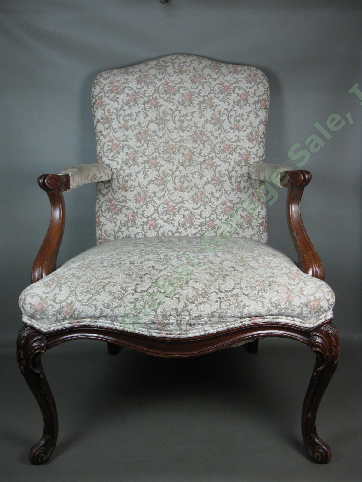 antique queen anne chair knoll diamond vtg off white floral upholstered arm