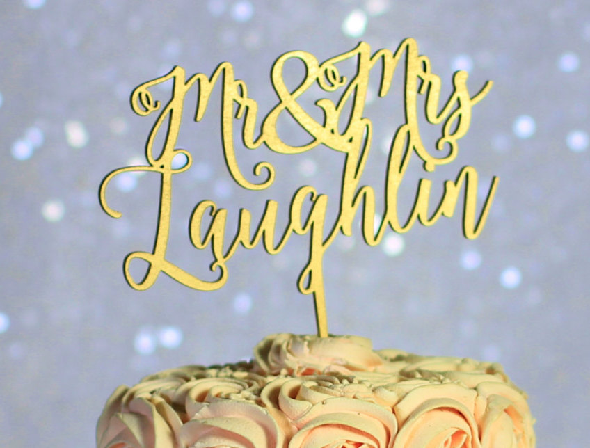 Personalized Mr & Mrs Wedding Cake Topper | GiftEve