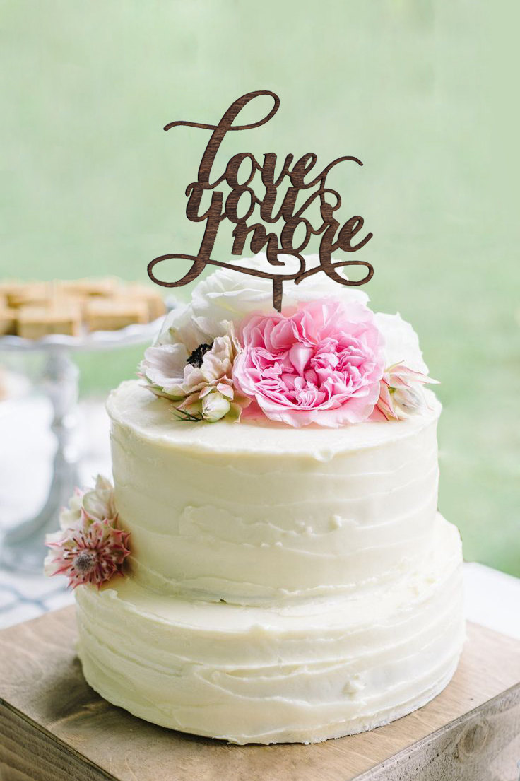 Better together cake topper gifteve rustic love you more cake topper junglespirit Choice Image