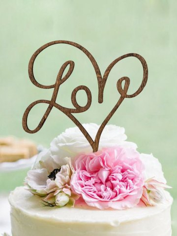 Love Rustic Cake Topper