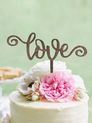 Curl Love Wedding Cake Topper