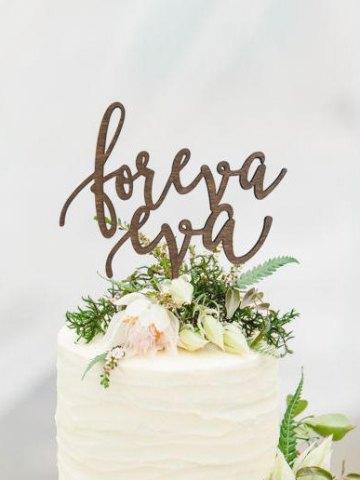 Rustic Foreva Eva Wedding Cake Topper - Forever Ever Cake Topper