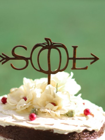 Personalized Pumpkin Arrow Cake Topper