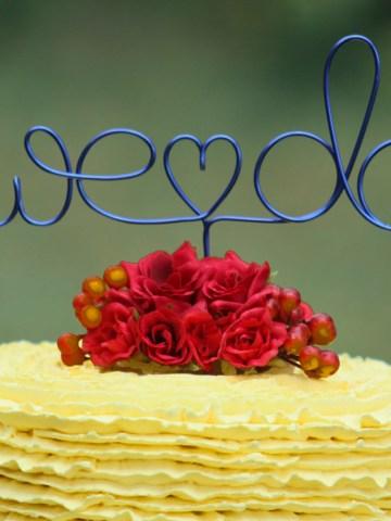 we do wedding wire cake topper