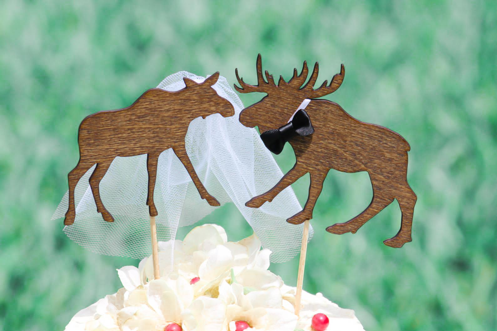 Moose Couple Wedding Cake Topper