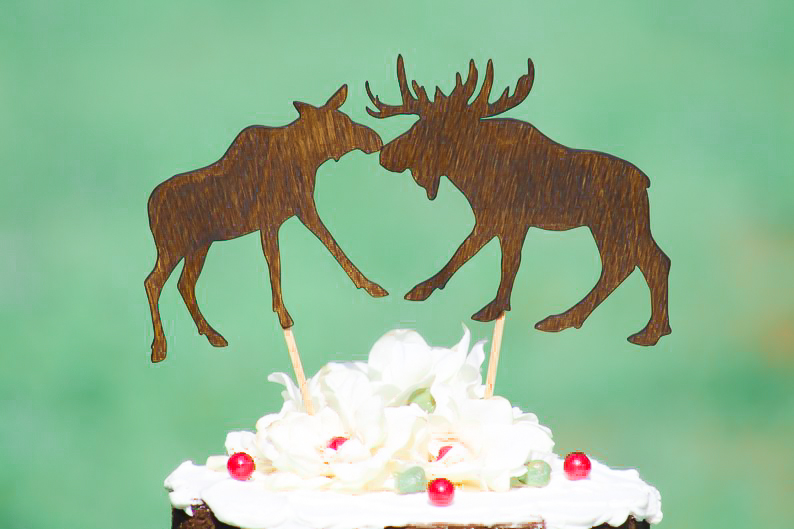 Tremendous Moose Wedding Cake Topper Funny Birthday Cards Online Overcheapnameinfo