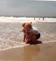 My sister and I at the beach.