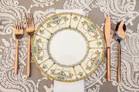 Antique place setting for dinner.