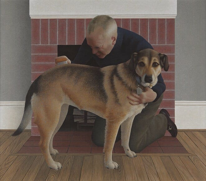 """Alex Colville, """"Dog and Groom"""""""