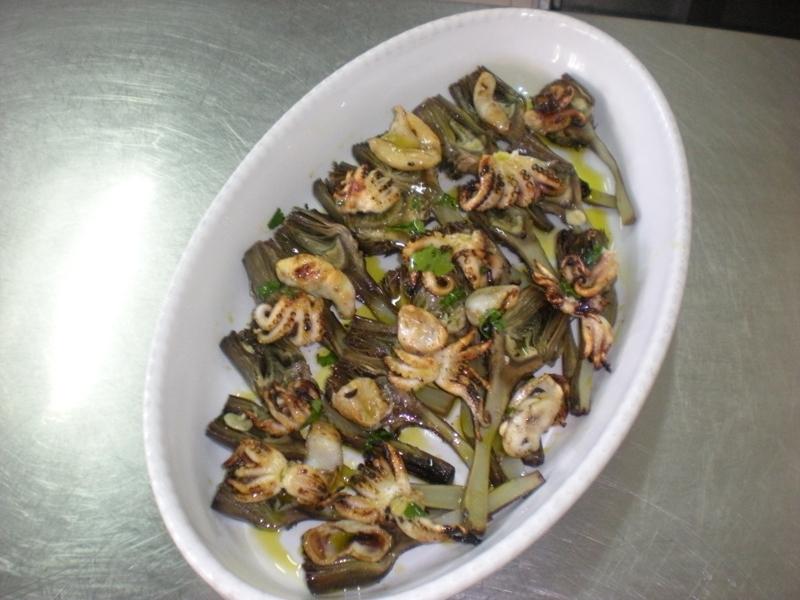 Ricetta Moscardini e carciofi grigliati aromatizzati alle