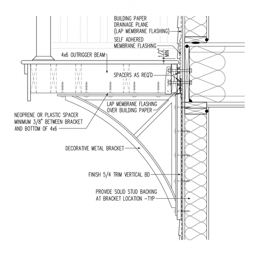 Second-Floor Balcony Supported by Brackets