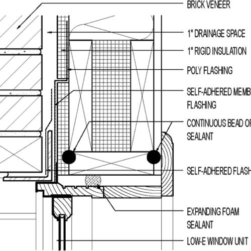 Flanged Window at Head. Exterior Foam Sheathing; Brick