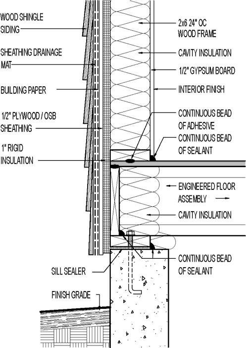 Wall section // wood shingle siding // 1