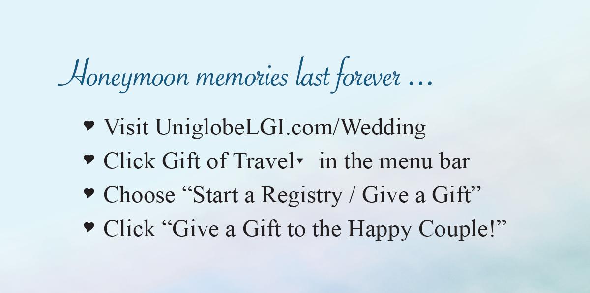 Uniglobe Honeymoon Registry