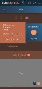 UI for cafe the user hasn't visited before
