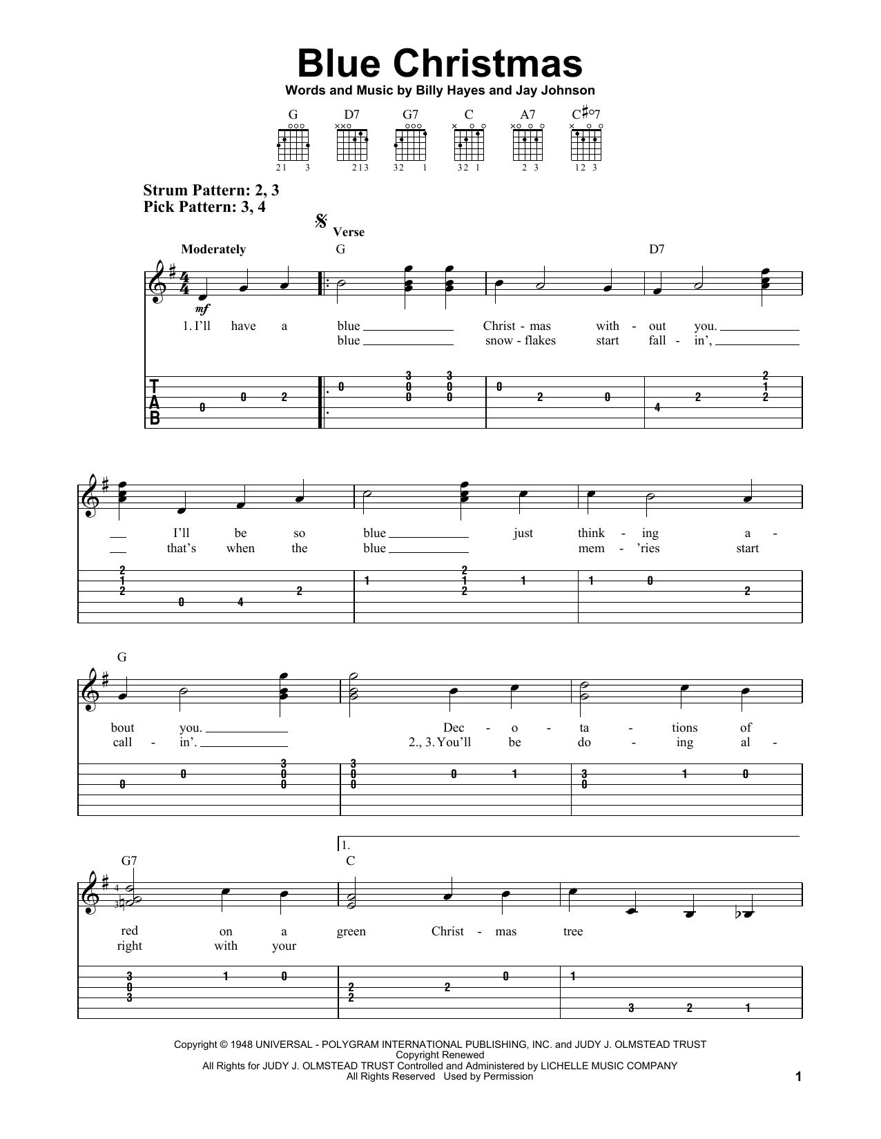 blue christmas ukulele chords - Blue Christmas Chords
