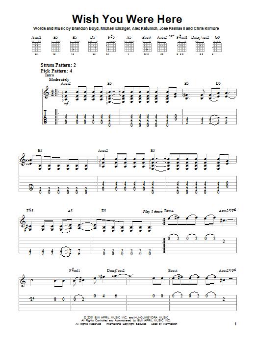 Wish You Were Here Partition Par Incubus Tablature Guitare Facile 21661