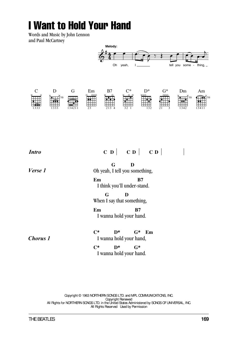 I Wanna Hold Your Hand Chord : wanna, chord, Beatles, Guitar, Chords/Lyrics, Instructor