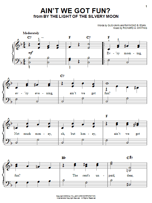 Aint We Got Fun Sheet Music For Piano Solo Chords By