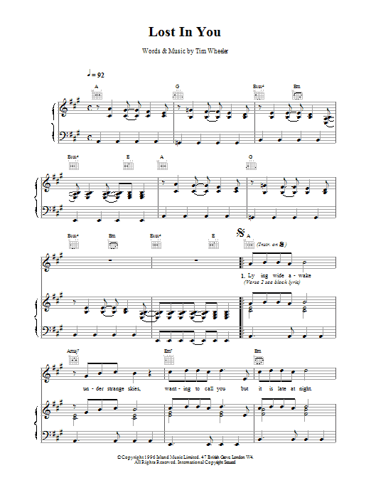 Lost in You Sheet Music | Ash | Piano. Vocal & Guitar