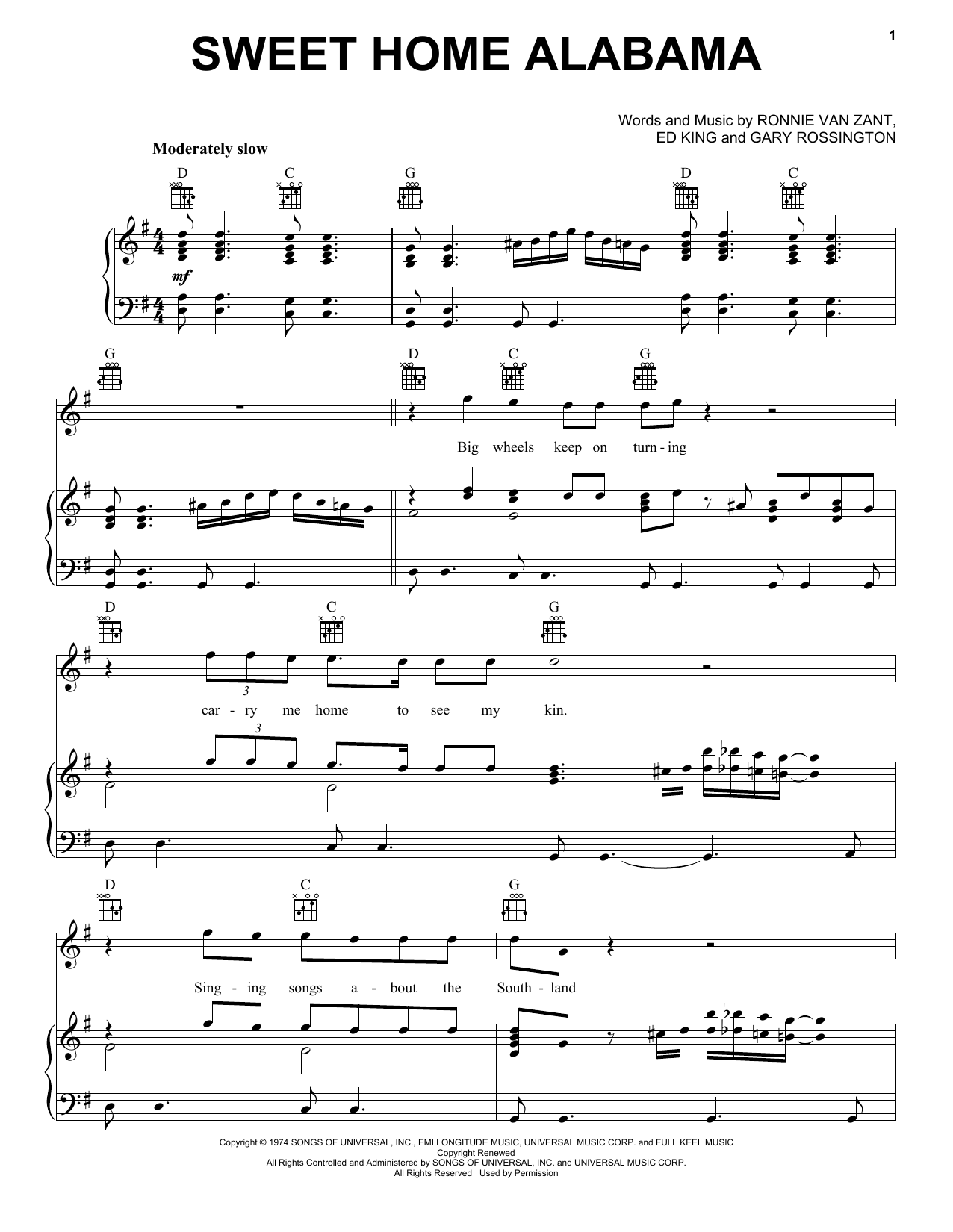 High quality guitar sheet music and tabs for sweet home alabama by lynyrd skynyrd. Sweet Home Alabama Piano Vocal Guitar Right Hand Melody